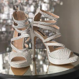 Grey + White Snakeskin Heels